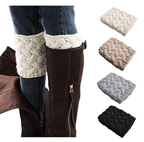 Xugq66 4 Pack Women Winter Crochet Knitted Boot Cuffs Socks Short Leg Warmers (4 Pair-04) -