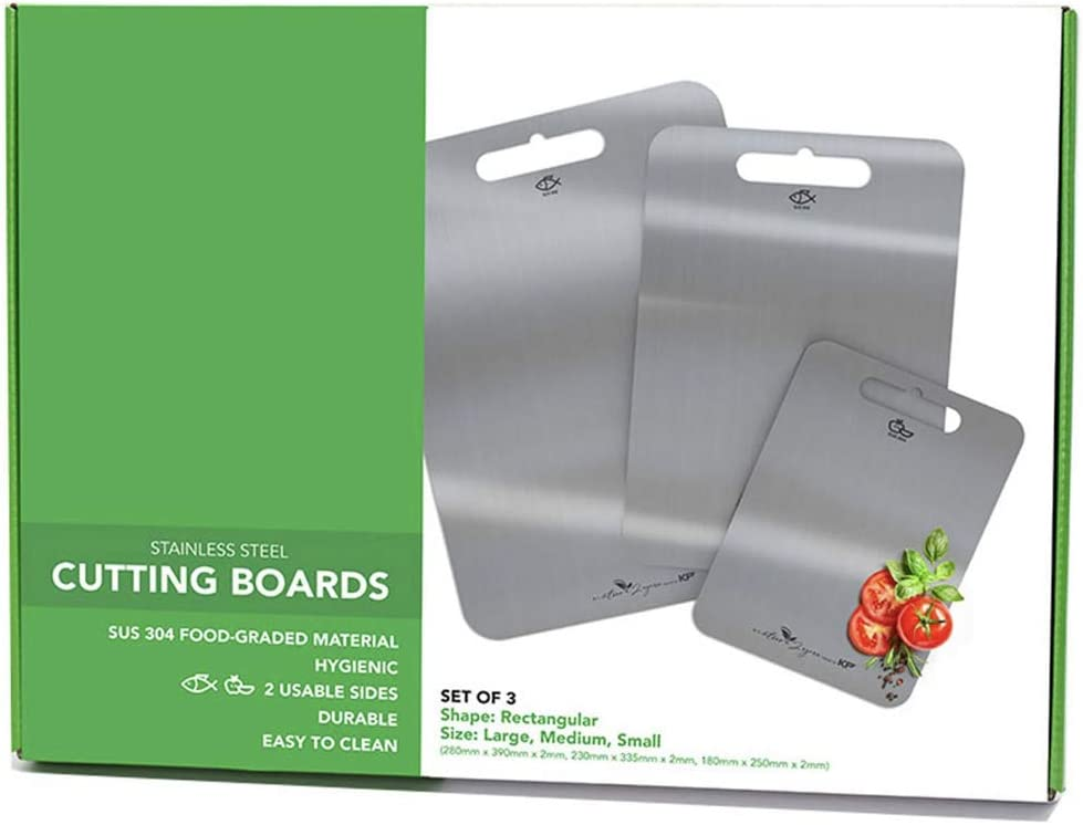 Stainless Steel Cutting Board for Kitchen made with 304 Food-Grade & Heavy-Duty Double-Sided Chopping Board for Meat, Cheese, Seafood, Vegetable, Fruit for Easy to Clean (SET 3 in 1 : Size S,M,L)