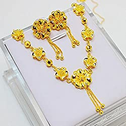 CS-DB 24K Gold Real 24K Yellow Gold Filled Necklace Earrings Flowers Link Set Women Wedding Jewelry