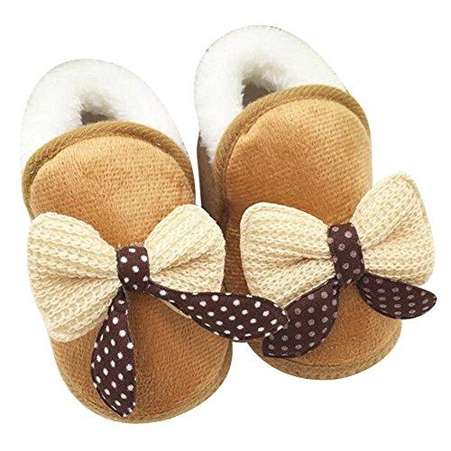 Highdas Neugeborenes Kind Baby Kleinkind Mädchen Warm Bogen Schneeschuhe Baby Wanderer Krippe Stiefel Khaki