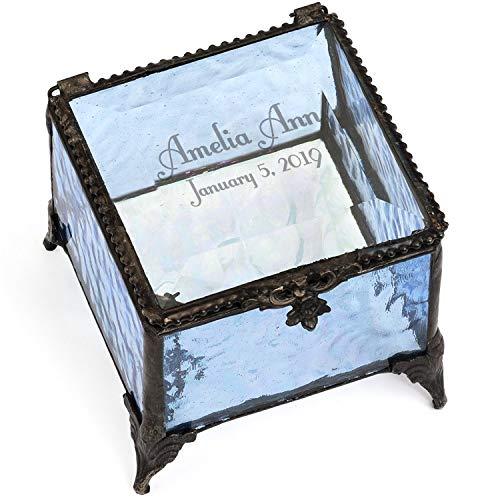 - Personalized Baby Keepsake Box Customized Baptism Christening Gift Blue Glass Box 837 EB217-2