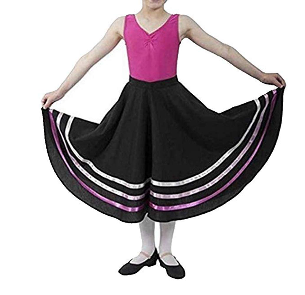 inlzdz Kids Girls Ribbon RAD Style Ballet Character Skirt Ballerina Long Maxi Swing Skirt Dance wear Costume