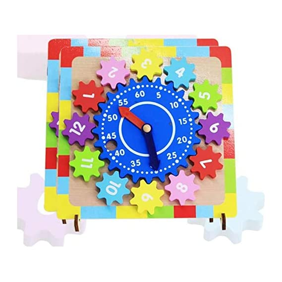 SN Toy Zone Wooden Learning Clock Puzzle Shapes Blocks with Old Style Telephone Type Rotatable Clock for Kids with Stand