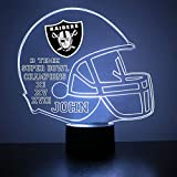 Mirror Magic Store Oakland Raiders Football Helmet LED Night Light with Free Personalization - Night Lamp - Table Lamp - Featuring Licensed Decal