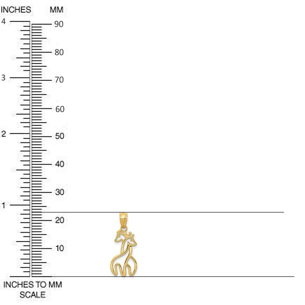 14k Yellow Gold Polished Interlocking Giraffes Pendant
