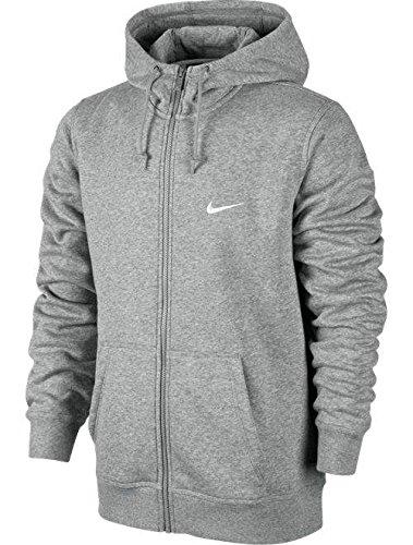 Nike Club Swoosh Mens Full Zip Hoodie (X-Large) Heather Grey