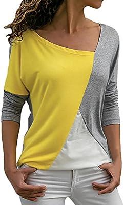 Longra 2018 Mujeres de la Moda Casual Patchwork Color Block Cuello Irregular Manga Larga Camiseta Blusa Top Camiseta del Barcelona