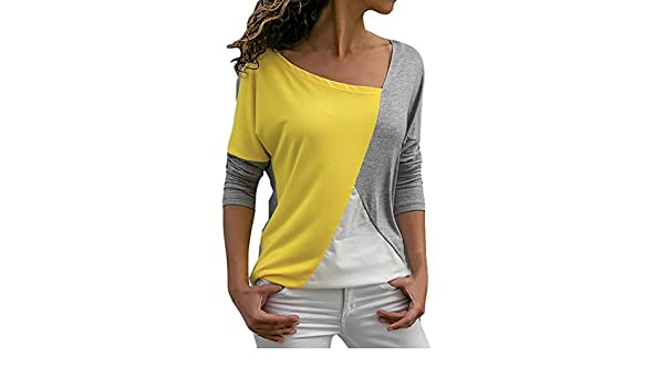 Longra☆ 2018 Mujeres de la Moda Casual Patchwork Color Block Cuello Irregular Manga Larga Camiseta Blusa Top Camiseta del Barcelona: Amazon.es: Deportes y ...