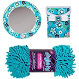 LockerLookz Blue Flower Mirror and Matching Bin, with 3C4G Shag Turquoise Locker Rug (Bundle of 3 Matching Locker Accessories)