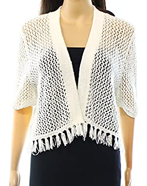 Calvin Klein Fringed Women's Medium Shrug Sweater White M