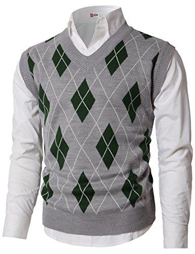 (H2H Men's Argyle V-Neck Sweater Vest Gray US M/Asia L)