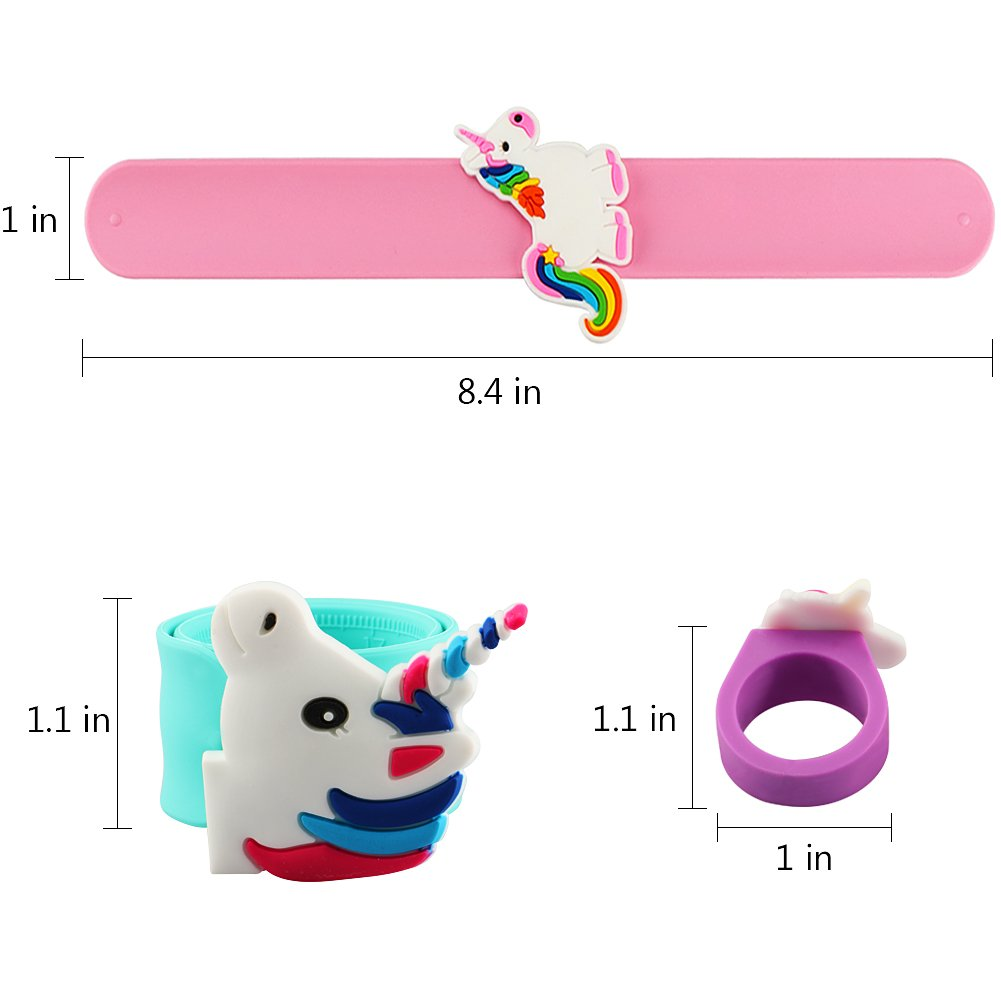 VAMEI 22 PCs Slap Bracelets Unicorn Rings Bracelets Rubber Toys Wristband Slap Bands Birthday Party Favors Supplies for Teens Girls Boys Kids by VAMEI (Image #3)