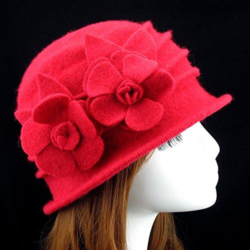Ealafee Women Blue Real Wool Berets Beanies Cloche Fedoras Flower Top Hats Cap by Ealafee (Image #1)