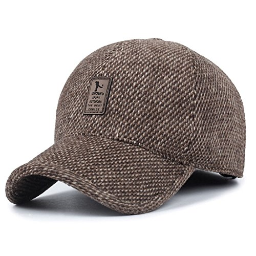 REGITWOW Men's Warm Wool Woolen Tweed Peaked Baseball Caps Hat With Fold Earmuffs (Wool Mens Ball Cap)