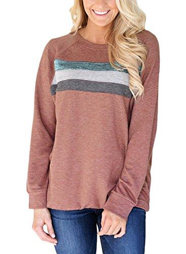 Dokotoo Womens Fall Ladies Cotton Crewneck Casual Winter Full Long Sleeve Cozy Tunics Sweatshirt Pullover Blouses Tops T Shirt Mauve Medium