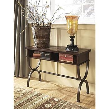 this item ashley furniture signature design zander console sofa table 2 storage cubbies vintage casual medium brown
