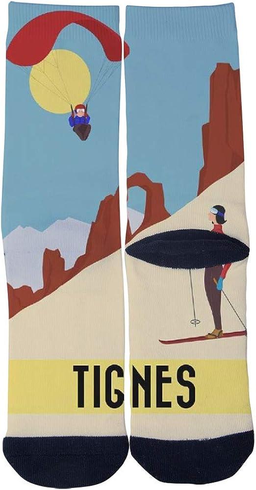 TheFun-Z Custom Poster From the Ski Station Tignes Socks Novelty Funny Cartoon Crew Socks Elite Casual Socks