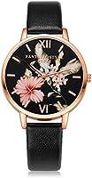 Loweryeah PU Leather Strap Black Dial Watch Lady Watch (Black)