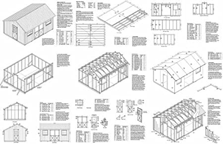 Review 12' X 16' Saltbox Style Storage Shed Project Plans -Design #71216
