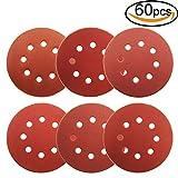1000 grit sandpaper disc - 60Pcs Sanding Discs 5 Inch 8 Holes, 1000/800/600/400/320/240 Grit Velcro Sandpaper for Random Orbital Sander by V-story