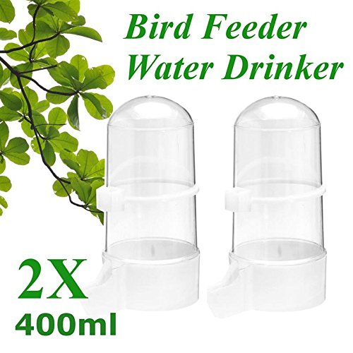 400ML Bird Feeder Water Drinker 2Pcs/Set Seed Fountain Cage Budgie Canary Finch Food Dish Dispenser Pet Birds Feeding Supplies