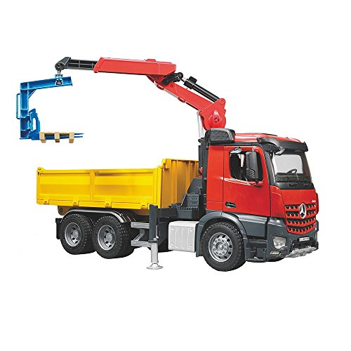 Bruder MB Arocs Construction Truck with Crane Clamshell Buckets and Pallets