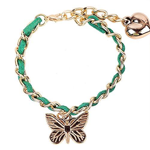 Price comparison product image Winter's Secret Women Butterfly Heart Pendant Adjustable Hand Knitting Green Link Bracelet