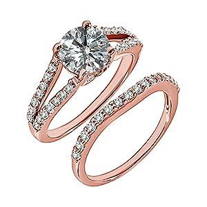 0.98 Carat G-H I2-I3 Diamond Engagement Wedding Anniversary Halo Bridal Ring Set 14K Rose Gold