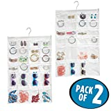 mDesign 48 Pocket Hanging Jewelry Organizer Storage Bag with Over Closet Rod Hanging Hook: Double Sided, Easy-View Clear Pockets with Fabric Backing and Trim, Reinforced Top – White/Clear, Pack of 2