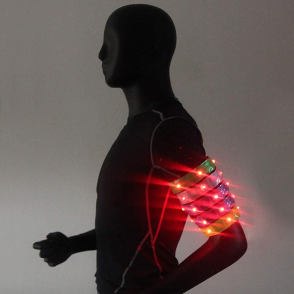2 St/ück blau 4-LEDs Nacht Sicherheit reflektierende Armband Armband f/ür Outdoor-Sportarten Radfahren Wandern Laufen Explopur Armband