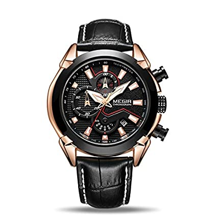 Director's Fiery Black 3D Sculpted Dial Chronograph Men's Watch(2065G)