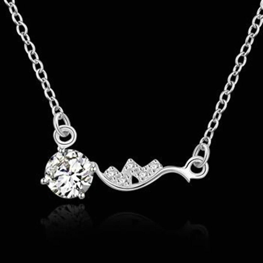 KnSam Women Alloy Pendant Necklaces Round CZ Flower Novelty Necklace