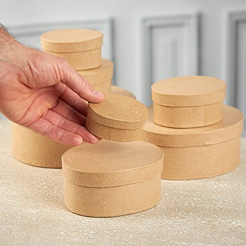 7 Boxes Factory Direct Craft Handcrafted Paper Mache Oval Boxes
