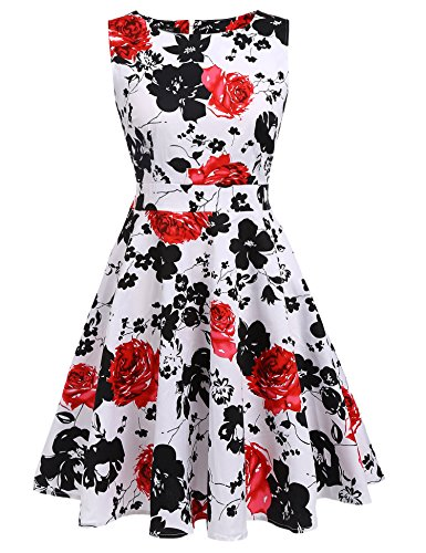 YOUNG RONG Women's 1950s Cap Sleeve Vintage Dress Floral Party (Floral Tea Party Dress)