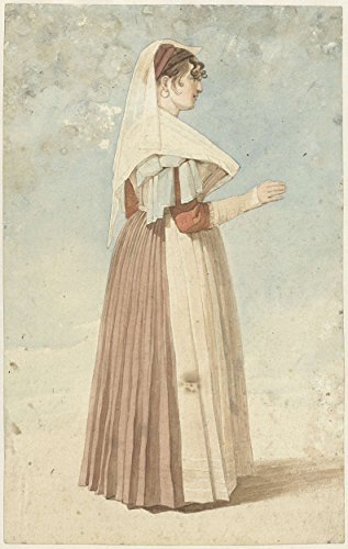 Classic Art Poster - Standing woman in Italian costume, right, Abraham Teerlink, 1810 - 1857 15.5