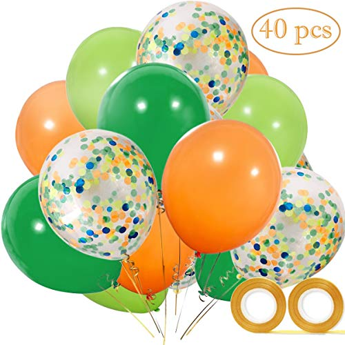 - Vodolo 12'' Dinosaur Party Balloons, Orange Light Blue Fruit Green Latex Balloons and Confetti Balloon 40 pcs for Baby Shower Dino Jungle Jurassic Birthday Party Decorations Supplies, 2 Gold Ribbons...