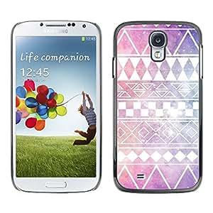 Patrón Estrellas Purple Sky nativos americanos - Metal de aluminio y de plástico duro Caja del teléfono - Negro - Samsung Galaxy S4