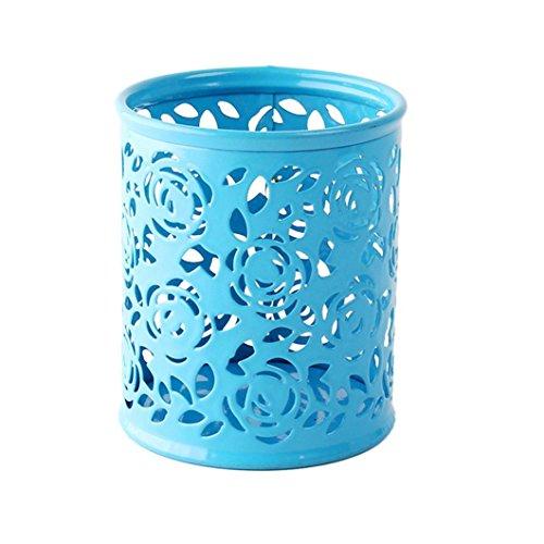 TONSEE Hollow Rose Flower Pattern Metal Pen Pencil Pot Holder Organizer (Blue)
