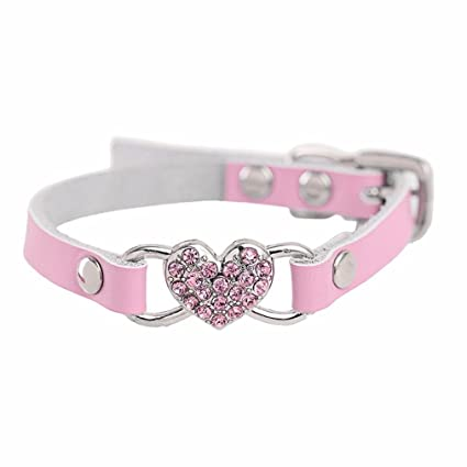 d993fa3f4517 XILALU Adjustable Bling Rhinestone Crystal Peach Heart Leather Collar  Buckle D-Ring Pet Puppy Dog