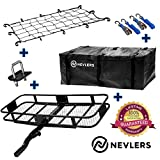 Nevlers Folding Hitch Mount Cargo Carrier with Net, Cargo Storage Bag, 2 Blue Ratchet Straps and Bonus Hitch stabilizer - Waterproof - 500 lb Weight Limit