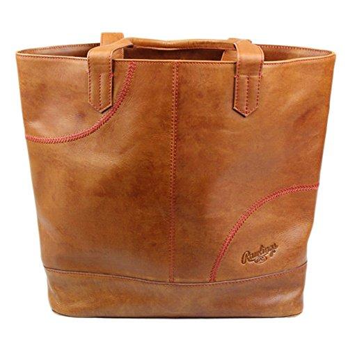 Shoe Embossed Leather Bag (Rawlings Women's Baseball Stitch Large Tote Bag, Tan, OS)
