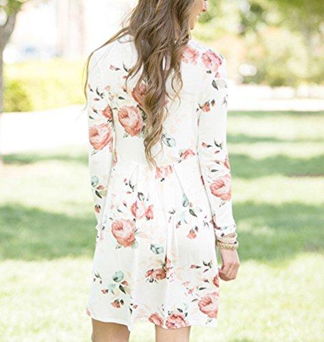 Damen Elegant Floral Langes Jerseykleider Casual Rundhalsausschnitt Langarm  Shirtkleider Lose Winterkleider Weiß C9Amlf6fo ... da9862226e