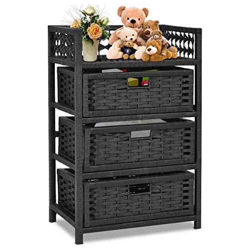 n-bright shop Tower Shelf 3 Drawer Storage Unit Wicker Baskets Storage Chest Rack Color Black (Drawer Rattan Unit Storage)