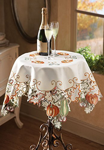 Collections Etc Die-cut Autumn Harvest Decorative Table Linens with Scalloped Edges - Accents of Pumpkins, Autumn Leaves, Acorns and Gourds, Square
