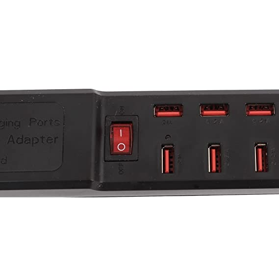 Amazon.com: eDealMax Plug AC100-240V de Estados Unidos 10 USB al adaptador de carga Multi-USO Power Strip 5.6ft Cable Negro: Electronics