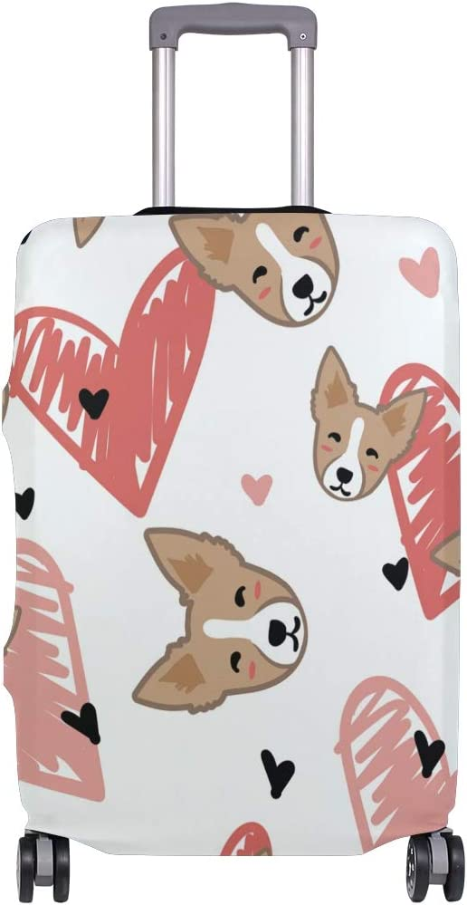Travel Luggage Cover Corgi Head Face Pink Red Love Heart Suitcase Protector
