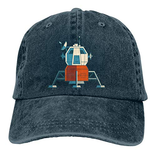 (Cotton Denim Cap Baseball Hat Spacecraft Six-Panel Adjustable Trucker Dad Hat Navy)