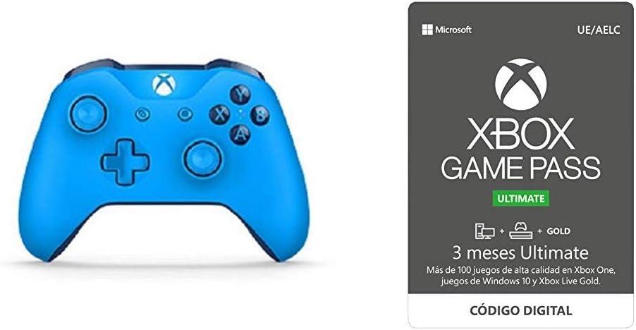 Microsoft - Mando Inalámbrico, Color Azul (Xbox One), Bluetooth + Xbox Game Pass Ultimate 3 Meses: Amazon.es: Videojuegos