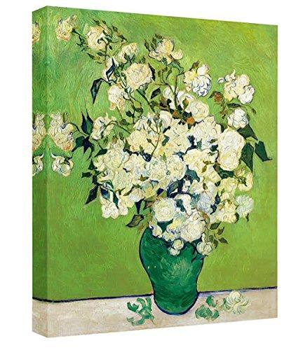 Eliteart-Vase with Pink Roses By Vincent Van Gogh Giclee Art Canvas Prints