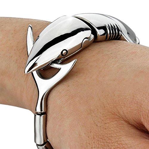 Bali Silver Bracelet Watch (Epinki, Men's Large Heavy Stainless Steel Bracelet Bangle Cuff Silver Shark Biker)
